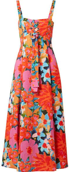 Mei Lace-up Floral-print Tencel And Linen-blend Dress - Pink