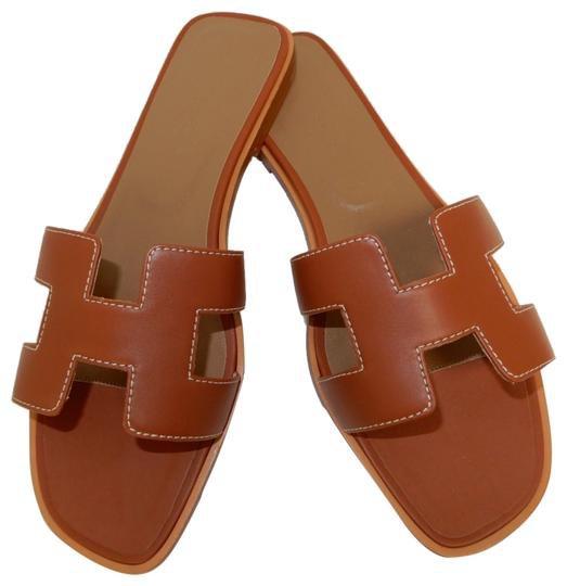 Hermès Brown Oran Leather Sandals Size EU 38 (Approx. US 8) Regular (M, B) - Tradesy