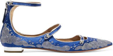 Claudia Schiffer Cloudy Star Embroidered Satin Point-toe Flats - Blue