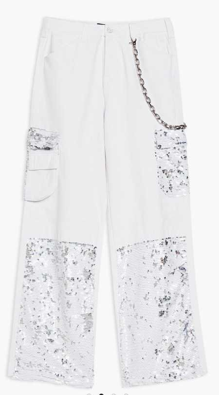 jaded London cargo trousers white sequin