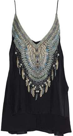 Embellished Tiered Printed Silk-voile Top