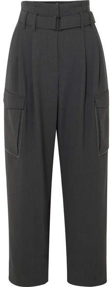 Cropped Belted Bead-embellished Wool-blend Wide-leg Pants - Dark gray