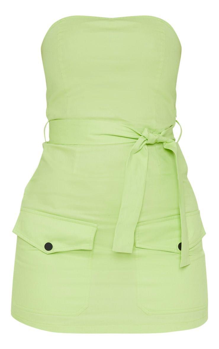 Neon Lime Bandeau Cargo Bodycon Dress | PrettyLittleThing