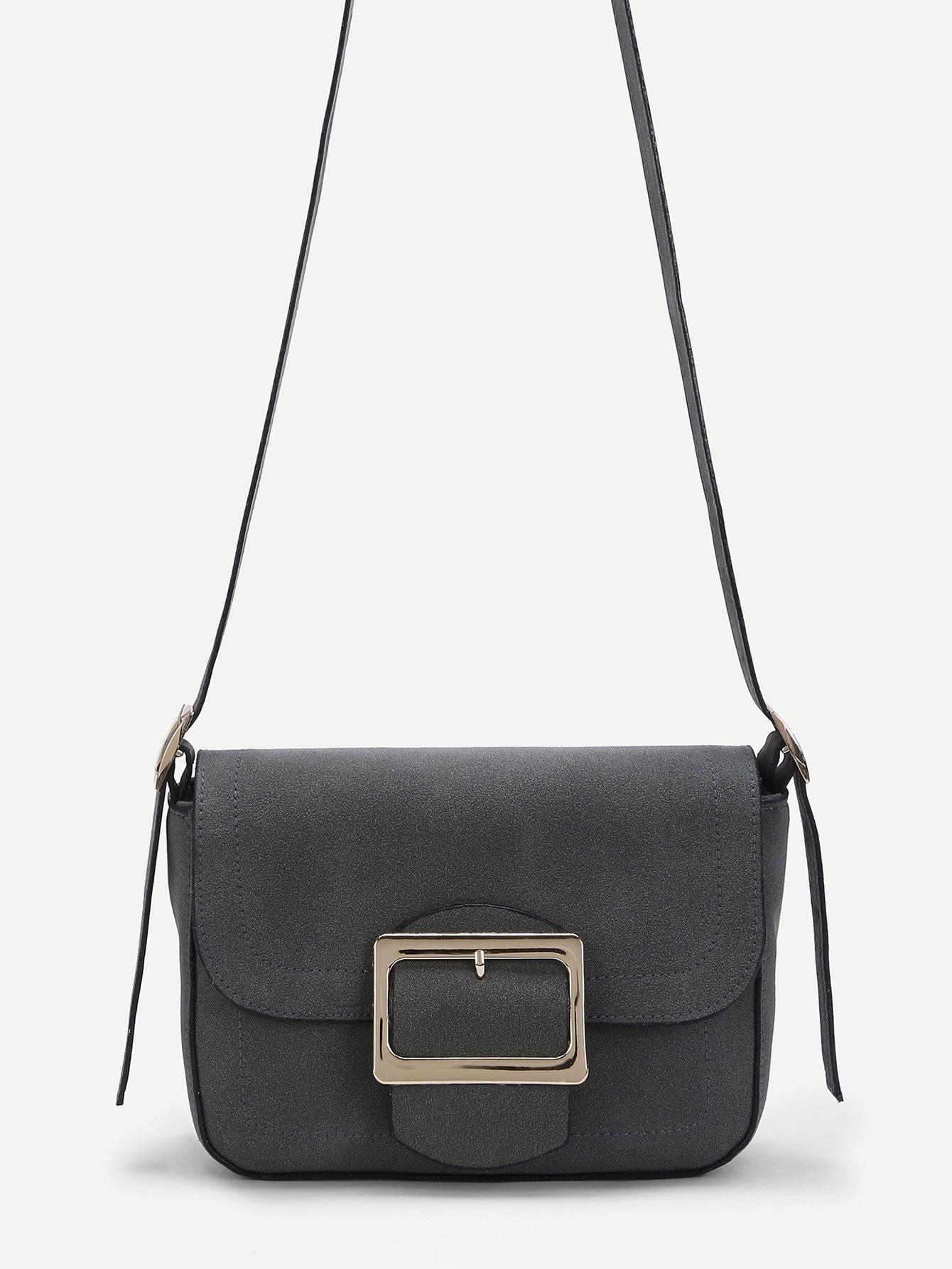 Buckle Front Suede Crossbody Bag
