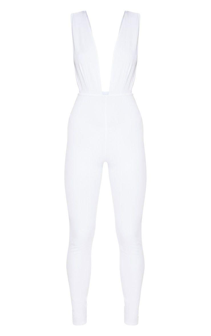White Bandage Plunge Jumpsuit | PrettyLittleThing USA