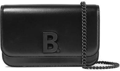 B Leather Shoulder Bag - Black
