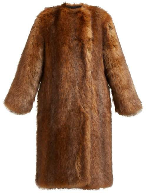 Single Breasted Faux Fur Coat - Womens - Brown