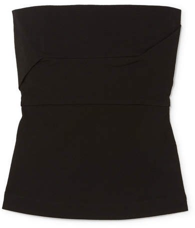 Cotton-blend Bustier Top - Black