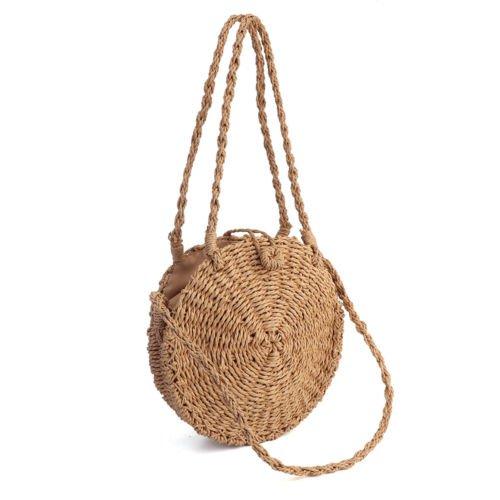 Women Sumer Straw Bag Woven Round Handbag Purse Boho Crossbody Beach Handbag | eBay