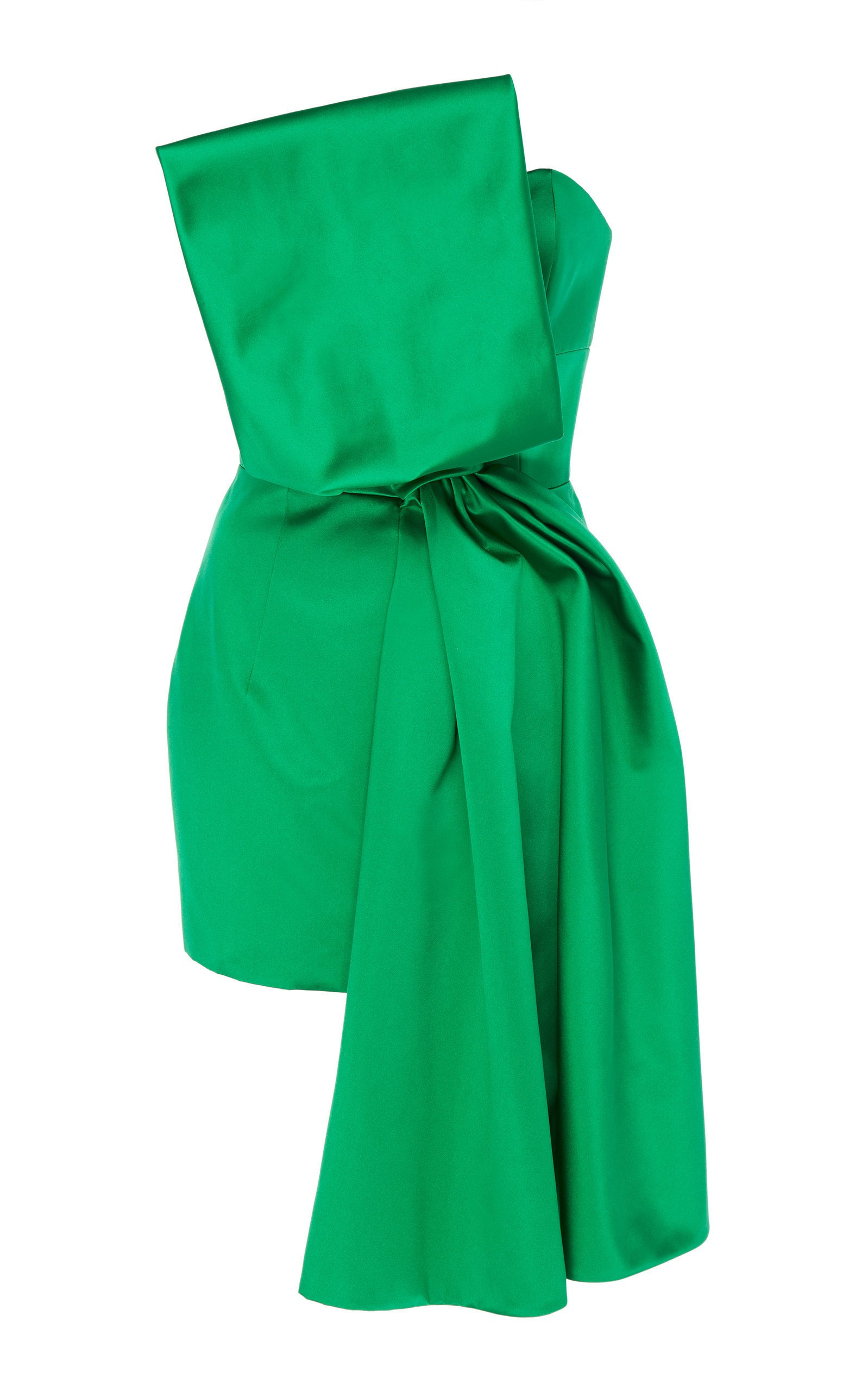 Paule Ka Bow-Detail Duchess Satin Mini Dress