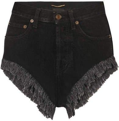 Distressed Denim Shorts - Black