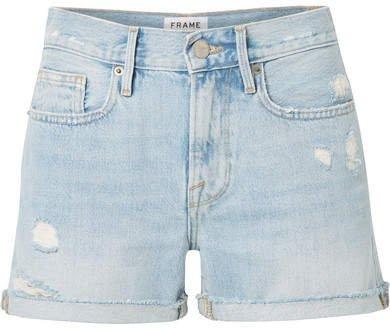 Le Brigette Frayed Denim Shorts - Light denim