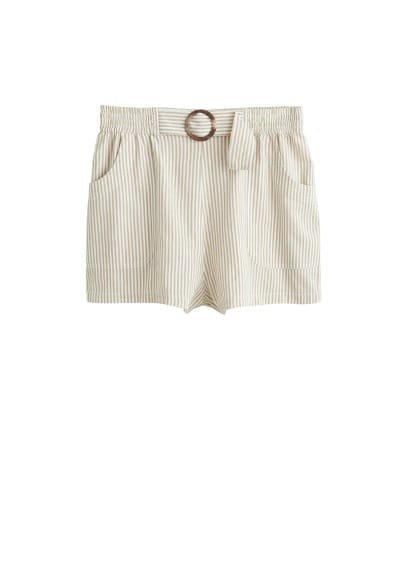 Violeta BY MANGO Cotton striped shorts