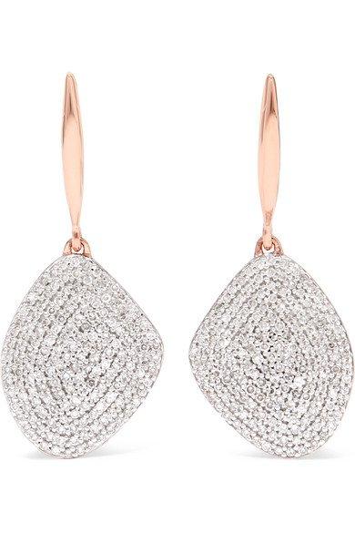 Monica Vinader | Nura rose gold vermeil diamond earrings | NET-A-PORTER.COM