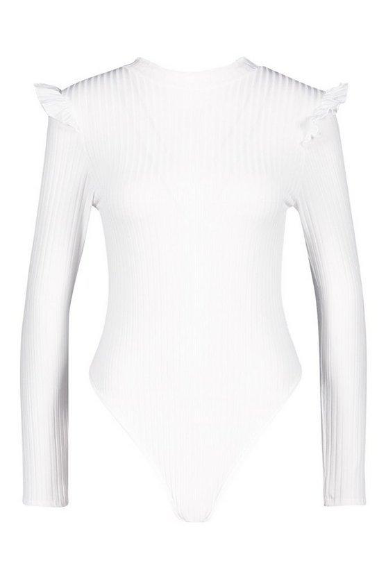 Ruffle Neck + Shoulder Bodysuit | Boohoo
