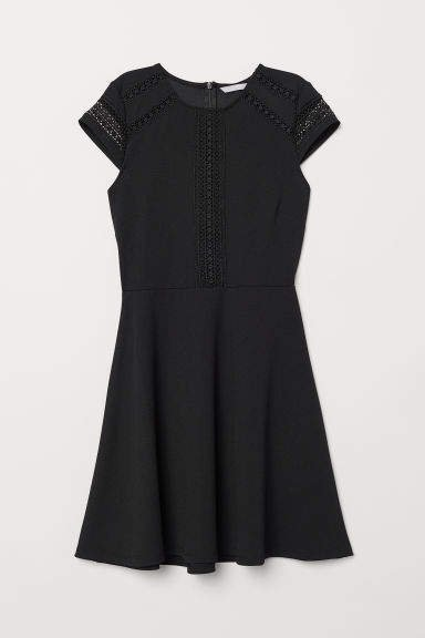 Dress with Lace Inserts - Black