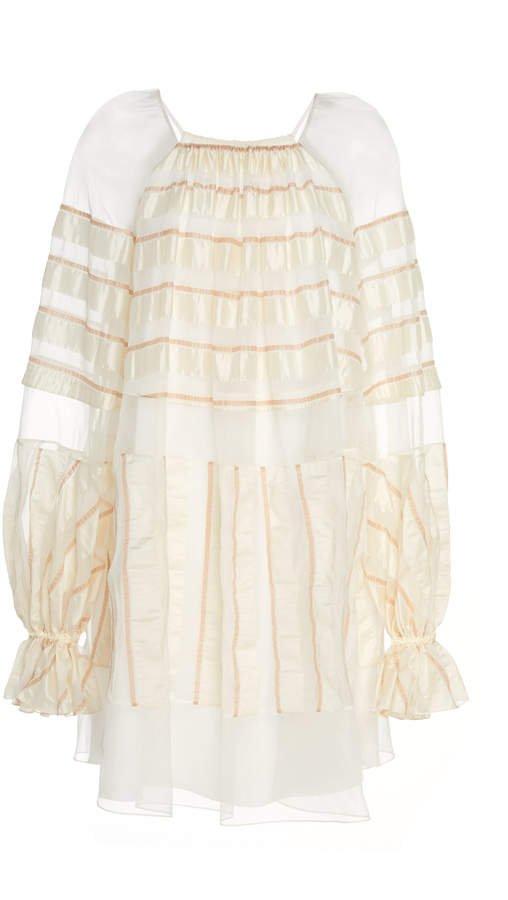 Noon by Noor Henley Sheer-Trim Stripe Shift Dress