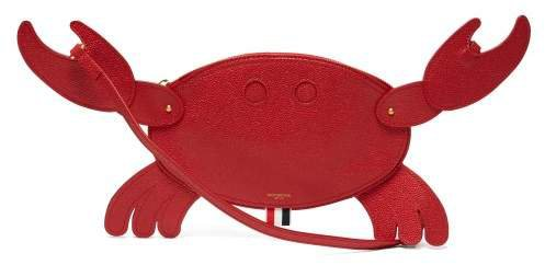 Crab Shaped Pebblegrain Leather Clutch - Womens - Red