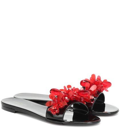 Embellished rubber slides