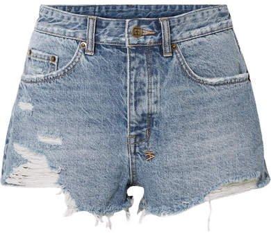 Tongue N Cheek Distressed Denim Shorts - Mid denim