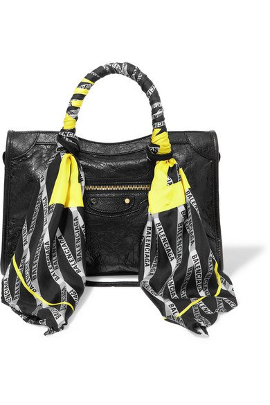 Balenciaga | Classic City AJ printed silk-twill-trimmed textured-leather tote | NET-A-PORTER.COM