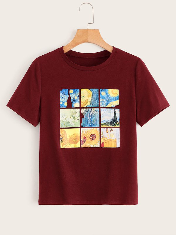 Sunflower & Figure Print Tee | SHEIN