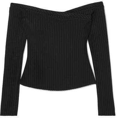 The Range - Off-the-shoulder Ribbed Stretch-jersey Top - Black