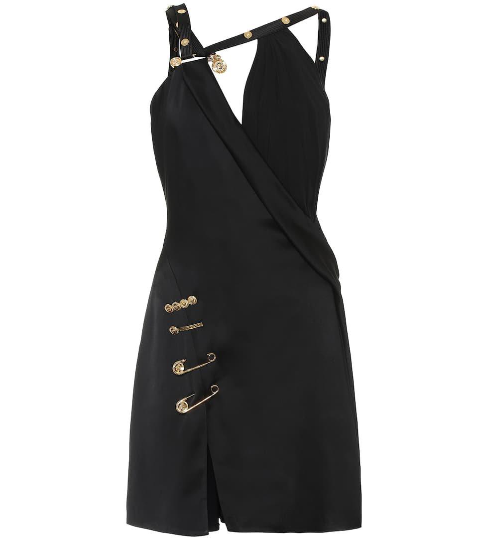 Versace - Embellished satin minidress | Mytheresa