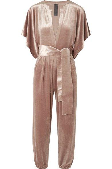Norma Kamali | Rectangle velvet jumpsuit | NET-A-PORTER.COM