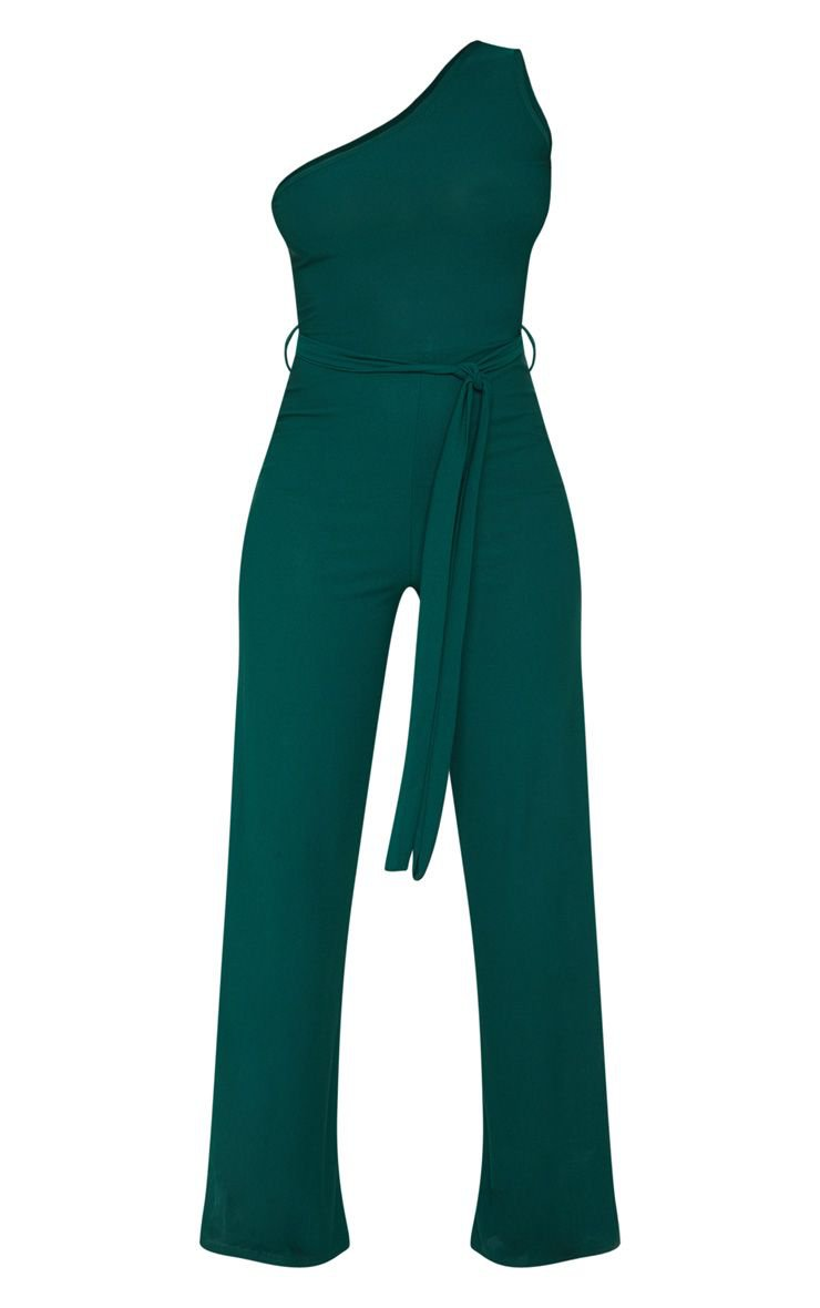 Emerald Green One Shoulder Jumpsuit | PrettyLittleThing USA