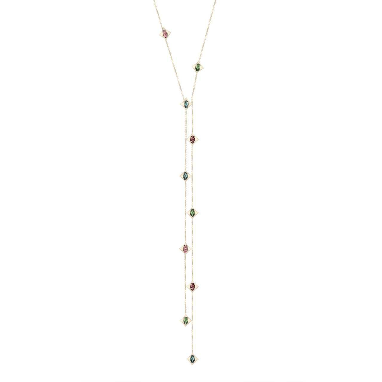 Regalo Necktie Necklace with Tourmaline in 14k Yellow Gold by GiGi Ferranti