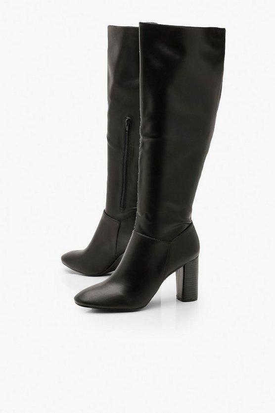 Block Heel Knee Boots | Boohoo
