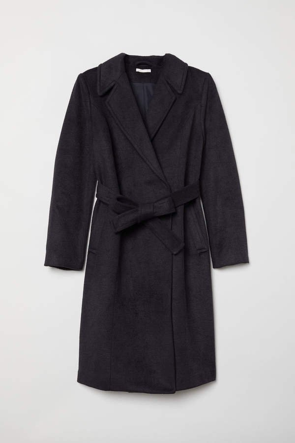 MAMA Coat with Tie Belt - Blue