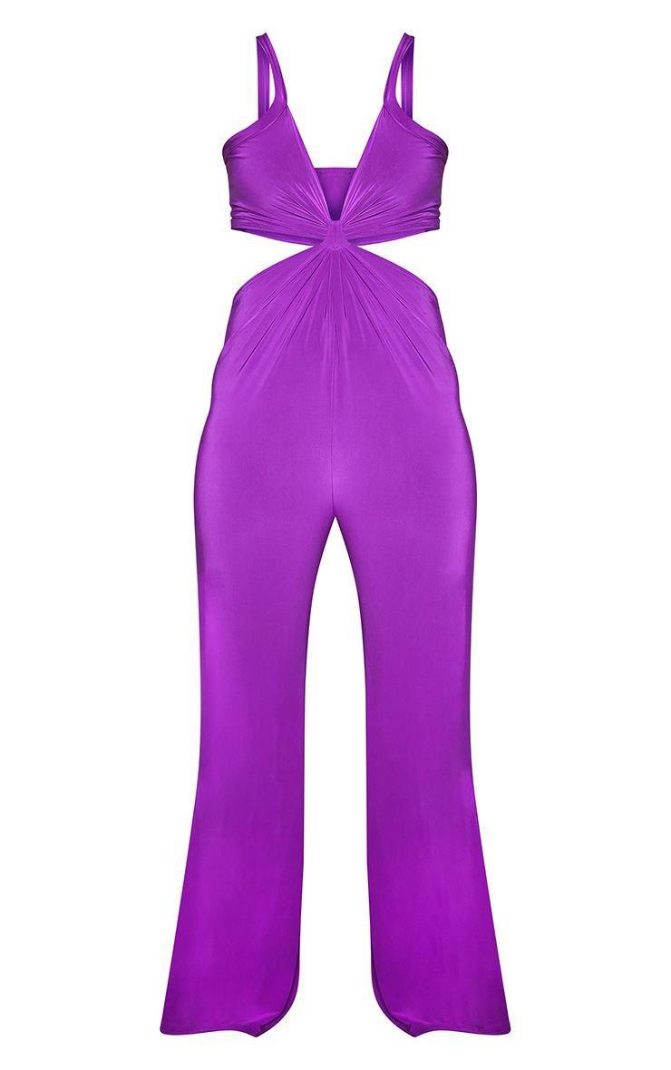 Plus Purple Cut Out Jumpsuit | Plus Size | PrettyLittleThing USA