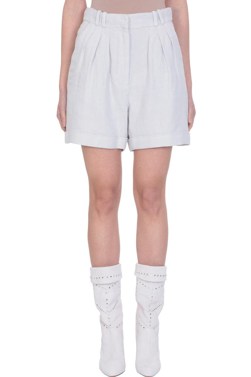 IRO Grey Cotton Linen High Waist Shorts