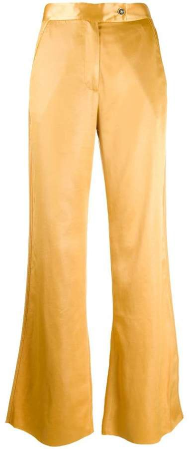 satin flared trousers
