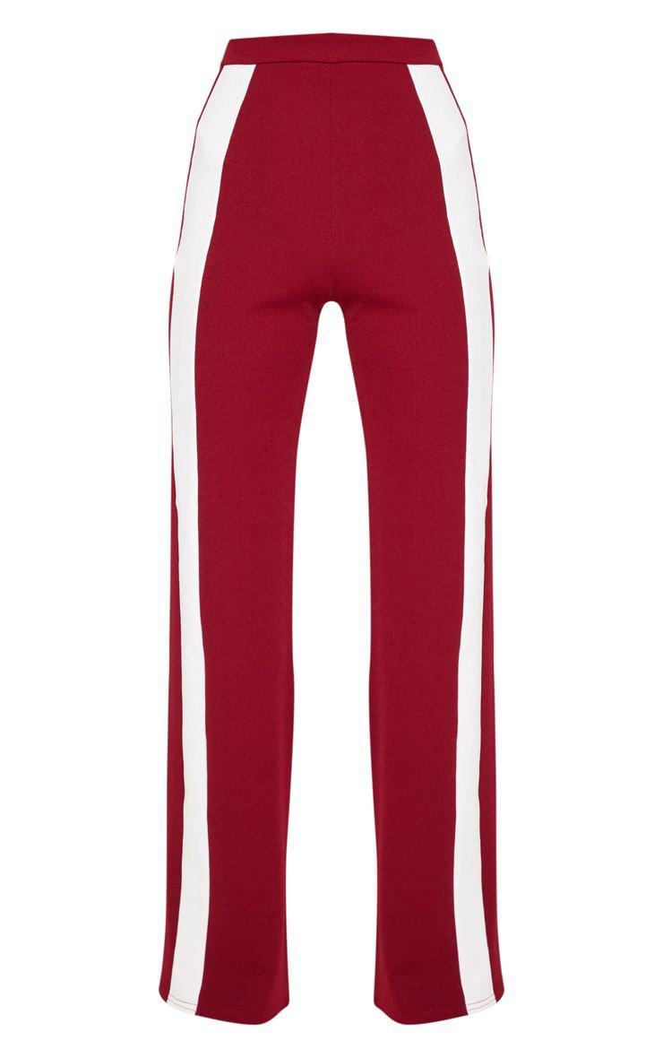 Maroon Contrast Panel Wide Leg Pants | PrettyLittleThing USA