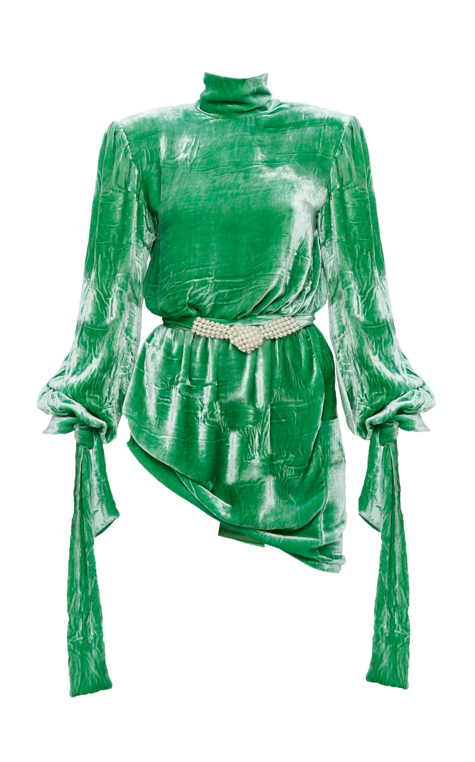 Mach & Mach Green Velvet Dynasty Dress With Knotted Pearl Belt
