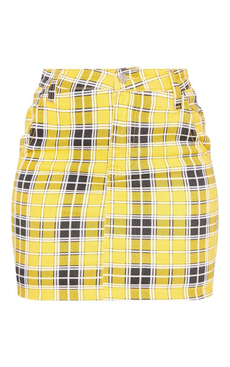 Yellow Checked Denim Skirt - Skirts & Shorts - New In | PrettyLittleThing