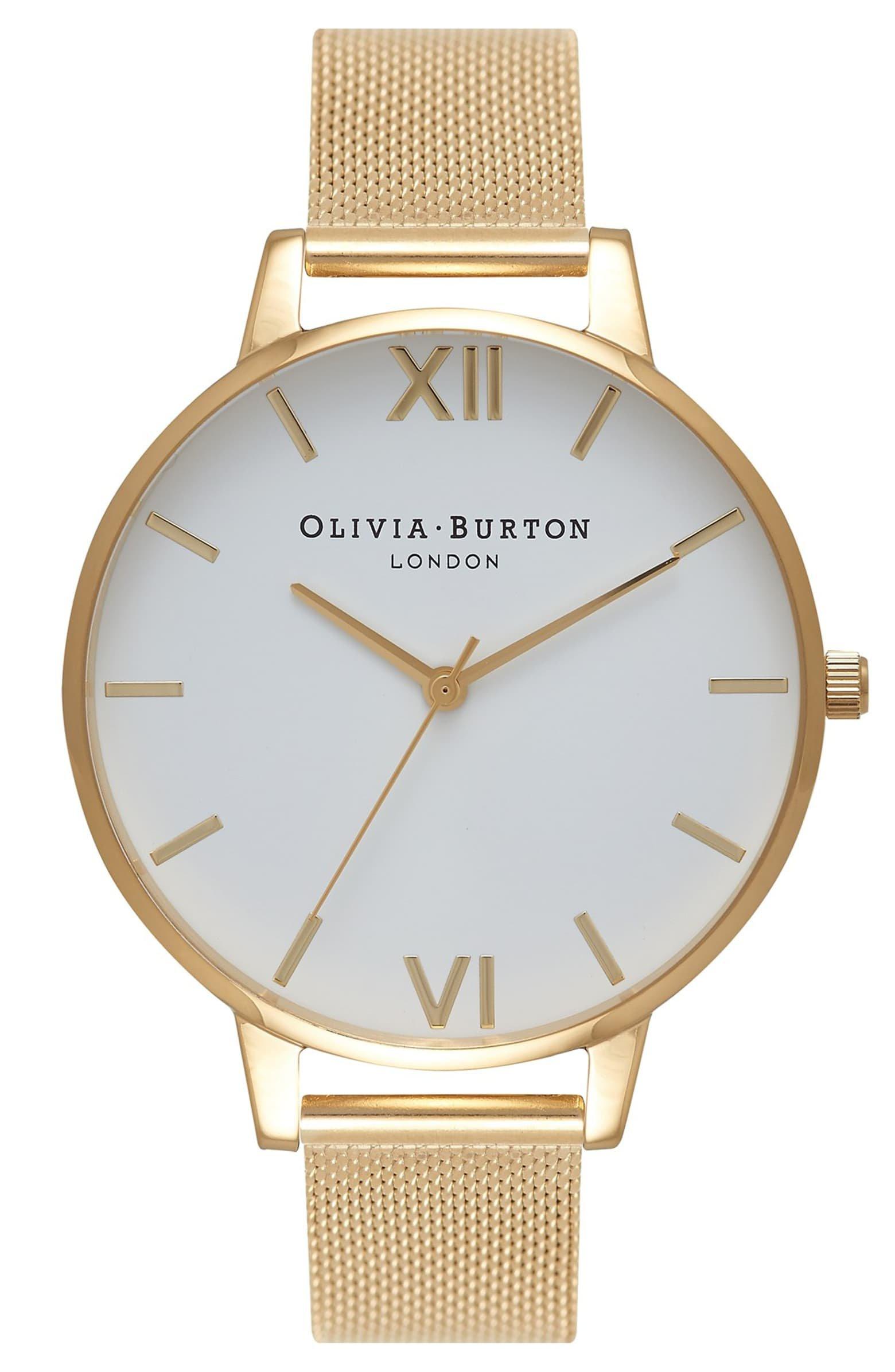 Olivia Burton 'Big Dial' Mesh Strap Watch, 38mm | Nordstrom