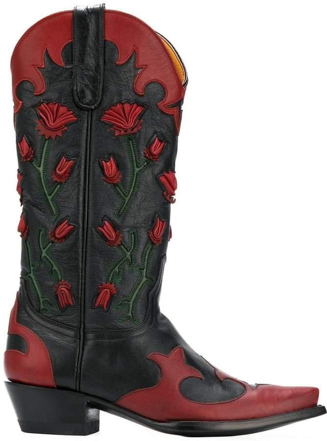 Jessie Western floral-appliquéd cowboy boots