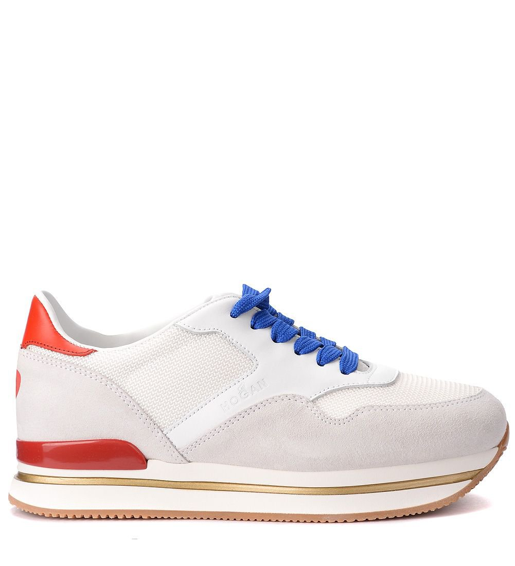 Hogan H222 White, Red And Gold Leather And Mesh Sneaker