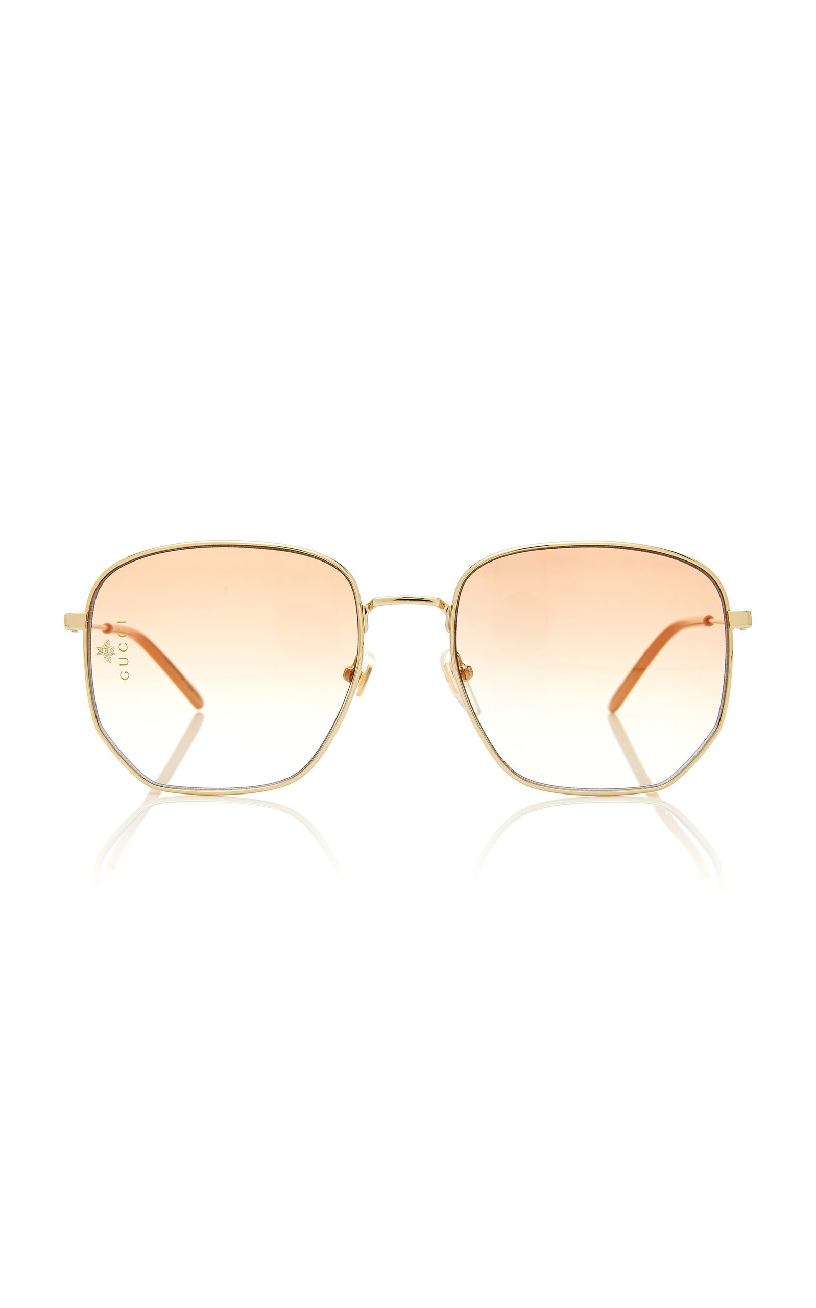 Gucci Sunglasses Hexagonal Gold-Tone Sunglasses