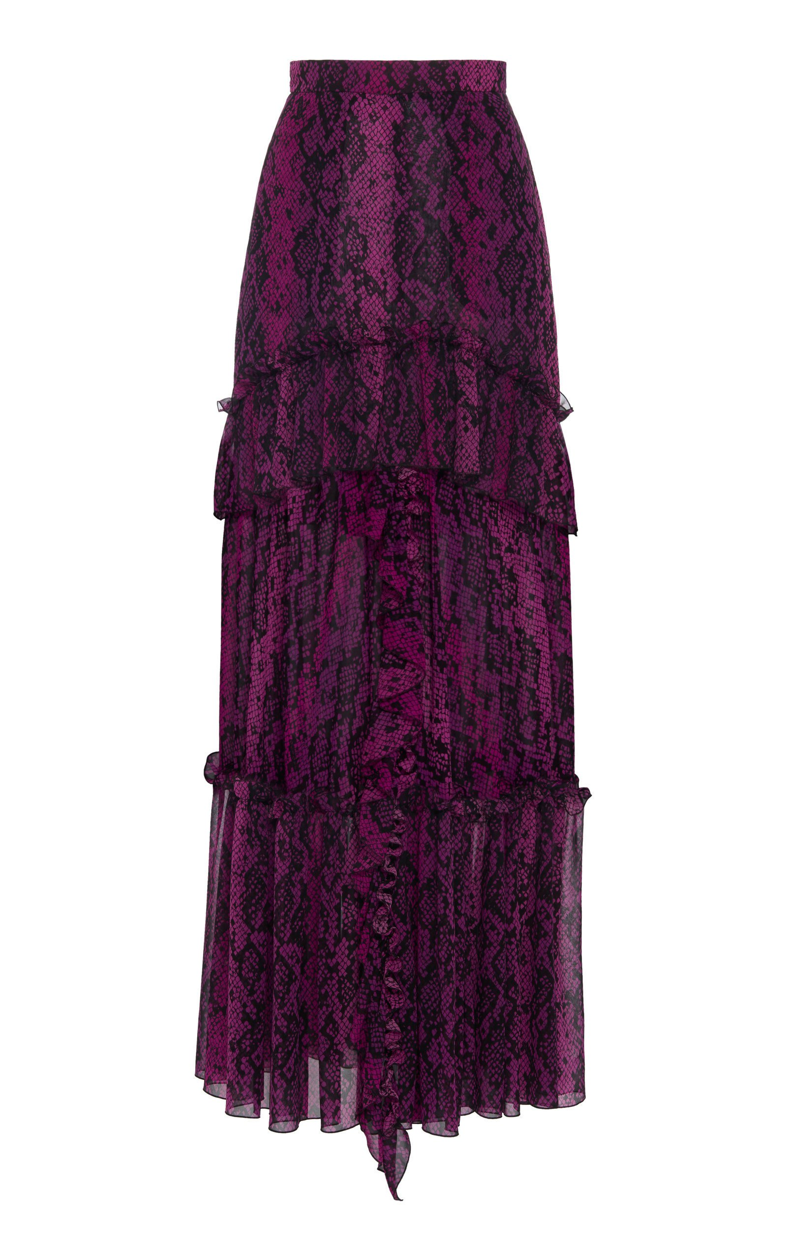 Dundas Python-Print Silk Ruffled Maxi Skirt Size: 48