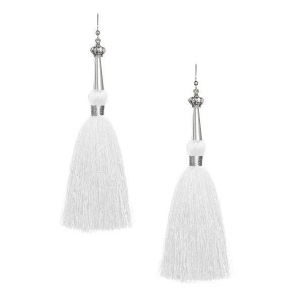 White Silk Tassel Earrings with Silver Cap, tassel jewelry