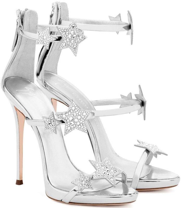 Giuseppe Zanotti 'Harmony Star' mirrored silver sandal with three straps and stars #giuseppezanottiheelssilver | Giuseppe zanotti Heels | Pinterest | Giuseppe …