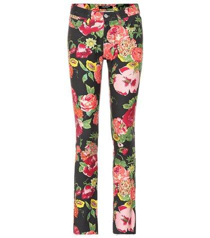 Floral-printed cotton pants