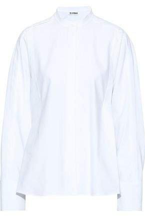 Oversized Pleated Cotton-pique Shirt