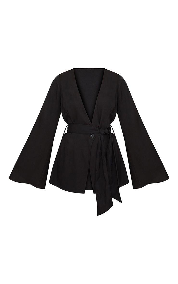 Petite Black Woven Belt Detail Blazer | Petite | PrettyLittleThing