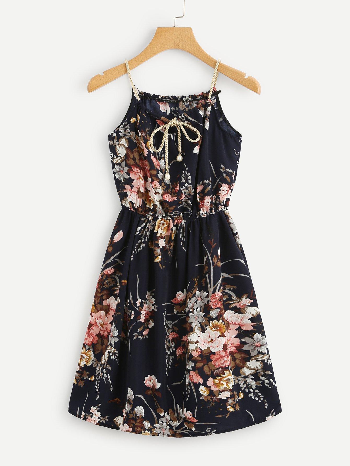 Ditsy Print Random Self Tie Cami Dress